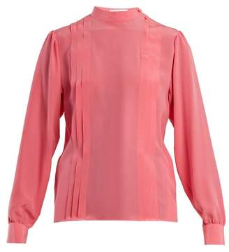 Valentino Pleated Silk Crepe De Chine Blouse - Womens - Pink
