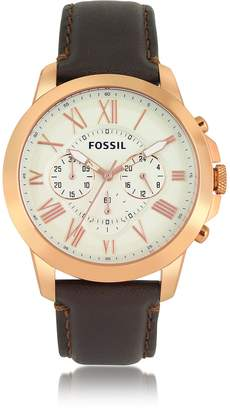 Fossil Grant Chronograph Gold Tone Stainless Steel Case and Brown Leather Strap Men's Watch