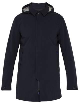 Herno Sky Line Hooded Coated Cotton Jacket - Mens - Navy