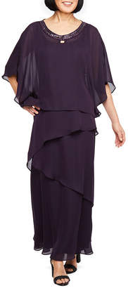 MAYA BROOKE Maya Brooke Sleeveless Embellished Evening Gown with Removable Cape