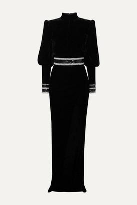 Balmain Embellished Velvet Gown - Black
