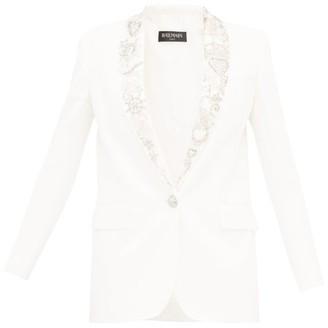 Balmain Embellished Lapels Crepe Blazer - Womens - White Silver