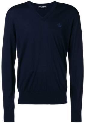 Dolce & Gabbana v-neck logo sweater