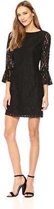 Wild Meadow Women's Lace Pleated Bell Sleeve Shift Dress XL Black