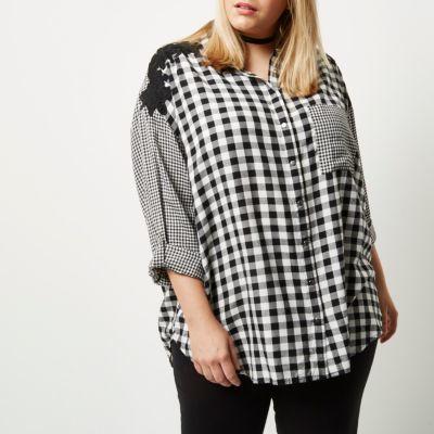 River IslandRiver Island Womens Plus mixed gingham print shirt