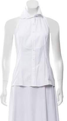 Christian Dior Halter Button-Up Top White Halter Button-Up Top