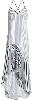 Jonathan Simkhai Asymmetric Striped Silk-Satin Midi Dress