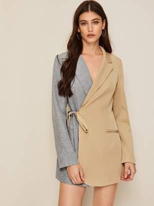 Shein Two Tone Wrap Tie Side Blazer Dress