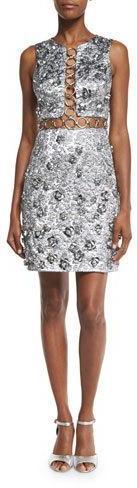 MICHAEL Michael KorsMichael Kors Sleeveless Floral-Appliqué Metallic Dress, Silver