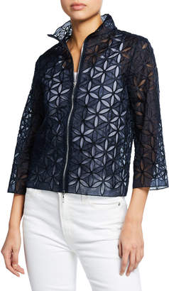 Elie Tahari Rainer Zip-Front Floral-Patterned Cropped Jacket