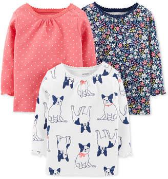 Carter's Baby Girls 3-Pk. Printed Cotton T-Shirts