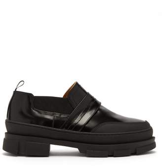 Ganni Raised Sole Leather Loafers - Womens - Black