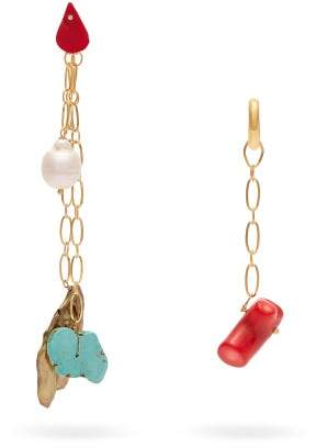 Timeless Pearly - Mismatched Chain Drop Earrings - Womens - Multi