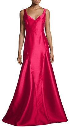 Black Halo Sleeveless V-Neck Godet Ball Gown $690 thestylecure.com