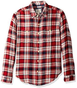 True Grit Men's Harley Double Cloth Plaid Long Sleeve Two Pocket Shirt