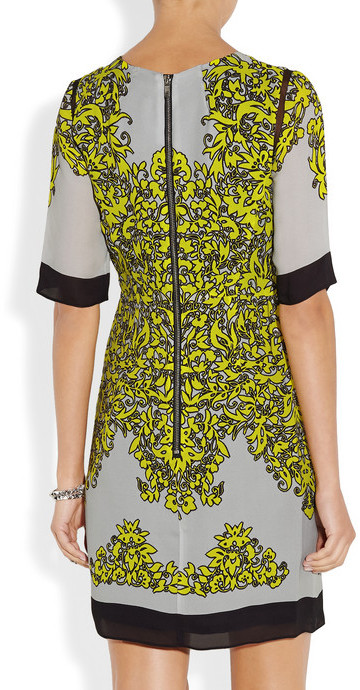 Milly Blaire tulle-trimmed printed silk-georgette dress