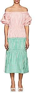 Cfgoldman Women's Gingham Silk Taffeta Peasant Dress Size 2