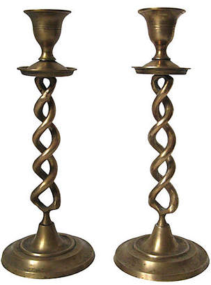 One Kings Lane Vintage Spiral Brass Candlesticks - Set of 2 - CW House Eclectic
