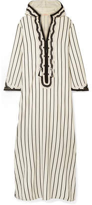 Tory Burch Savonna Striped Embroidered Canvas Kaftan - Ivory