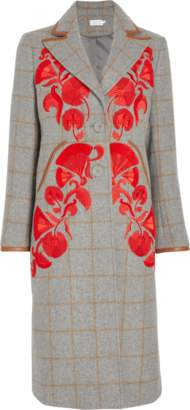 Tanya Taylor Embroidered Camel Plaid Coat
