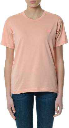Acne Studios Nash Face Pale Pink T-shirt In Cotton