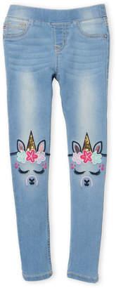 Vigoss Girls 4-6x) Unicorn Embroidered Pull-On Skinny Jeans