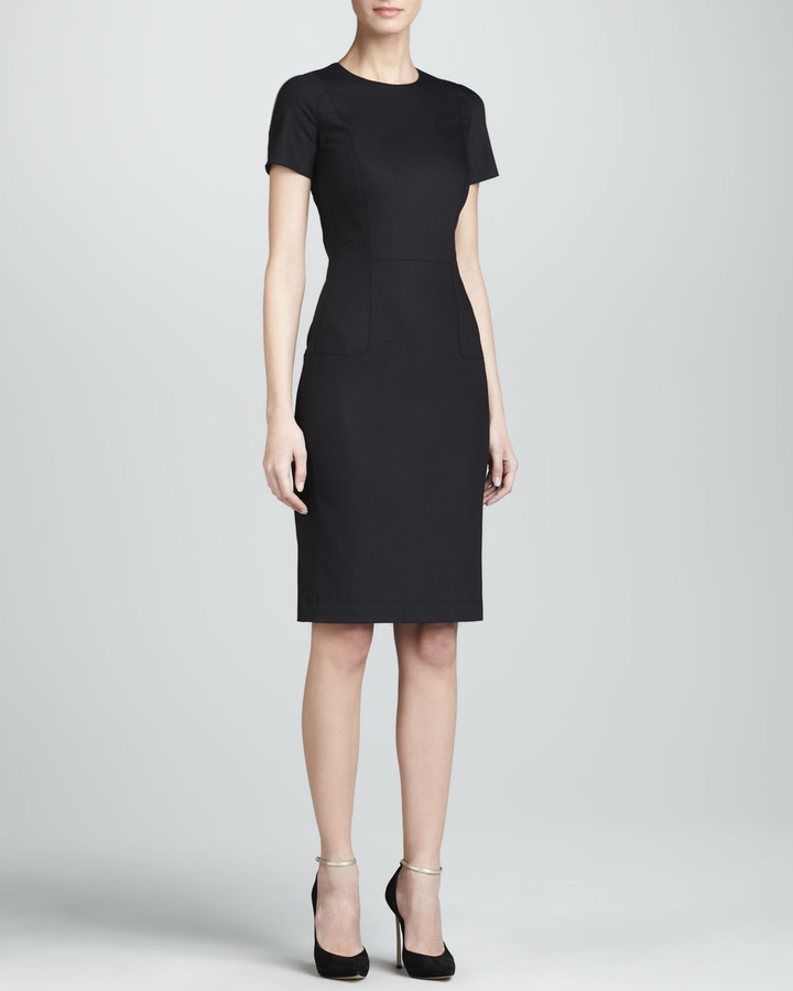 The Row Short-Sleeve Fitted Sheath Dress, Black