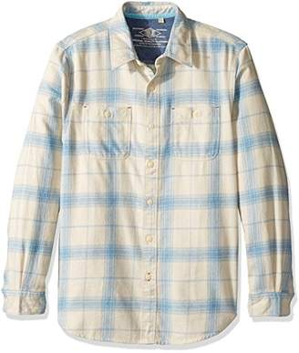 True Grit Men's Roadtrip Plaid Long Sleeve Two Pocket Heather Flannel Shirt