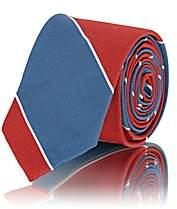 Thom Browne Men's Striped Silk-Cotton Faille Necktie-Red
