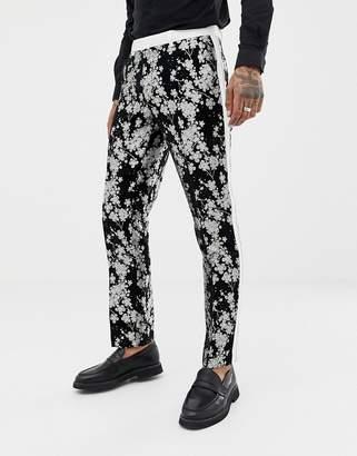Asos EDITION slim tuxedo suit pants in monochrome floral jacquard