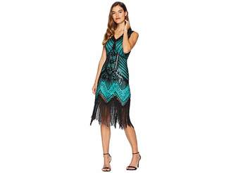 Unique Vintage 1920s Deco Veronique Fringe Flapper Dress
