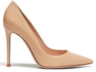 Gianvito Rossi Gianvito 105 Point Toe Patent Leather Pumps - Womens - Nude