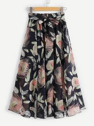 Shein Tie Waist Floral Chiffon Skirt