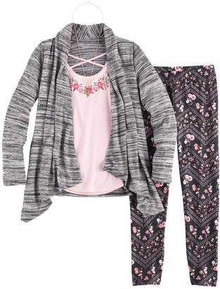 Knitworks Girls 7-16 Cozy Cardigan Top, Tank Top & Leggings Set with Necklace