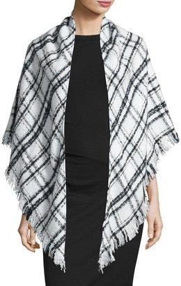 Ivanka Trump Fringed Tartan Plaid Triangle Wrap, Mauve Chalk $40 thestylecure.com