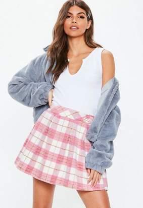 Missguided Pink Plaid Pleated Mini Skirt