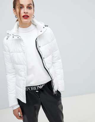 Emporio Armani Short Padded Jacket with Branded Taping