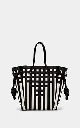 Loewe Women's Flamenco Knot Grid Leather Tote Bag - Wht.&blk.