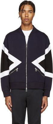 Neil Barrett Blue Modernist Bomber Zip-Up Sweater $710 thestylecure.com