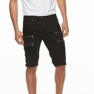 X-Ray Xray Men's XRAY Slim-Fit Moto Stretch Denim Zippered Shorts