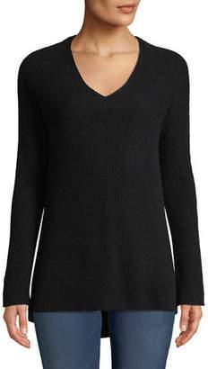 Neiman Marcus Shaker-Stitched Cashmere V-Neck Sweater