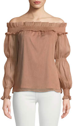 The Jetset Diaries Margot Smocked Off-The-Shoulder Blouse