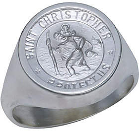 Rand & Paseka Sterling Silver St. Christopher Medal Ring