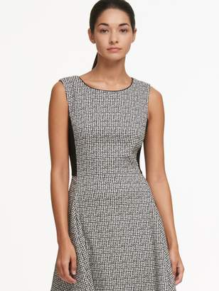 DKNY Jacquard Crew Neck Dress With Cutout Hem