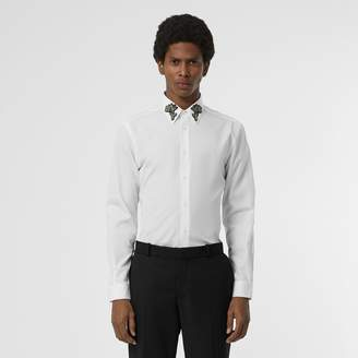 Burberry Slim Fit Bullion Floral Cotton Poplin Dress Shirt