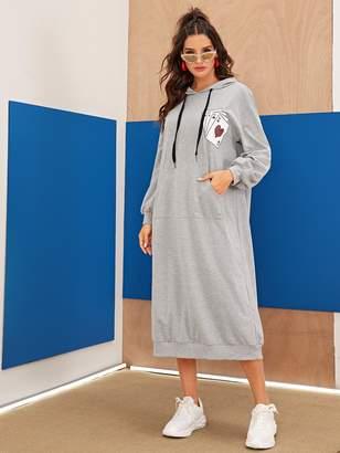 Shein Drop Shoulder Pocket Playing Cards Hooded Dress Without Bag