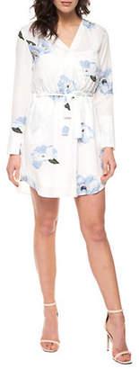 Dex Long-Sleeve Printed Wrap Dress
