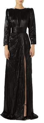 Gucci Long-Sleeve Drape Satin Duchess Evening Gown