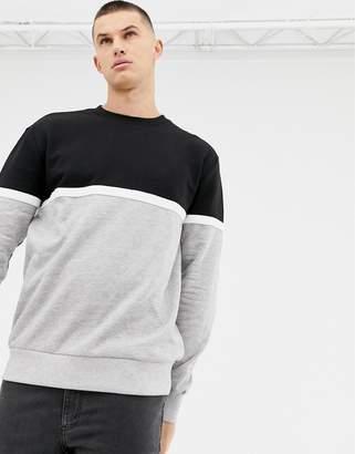 New Look color block sweatshirt in black