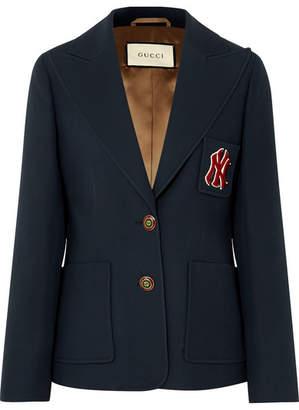 Gucci + New York Yankees Appliquéd Wool And Silk-blend Cady Blazer